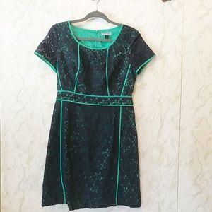 Cynthia Rowley GRN/BLUE Lace Overlay Dress SZ 8